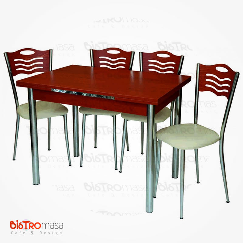 Parlak kiraz mutfak masası 4 sandalyeli