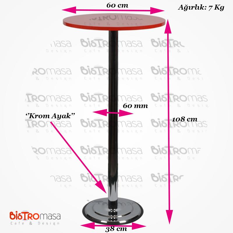 Kırmızı renk bistro masa ölçüleri