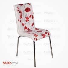 Kirmizi dal desenli petli sandalye