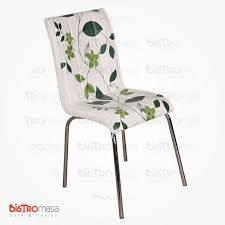 Yeşil dal desenli petli sandalye
