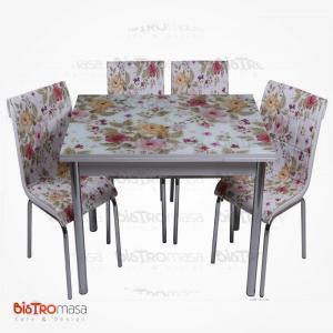 Çiçek bahçesi desenli mutfak masası