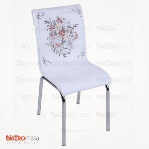 Çiçek sepeti desenli petli sandalye