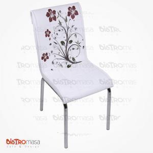 Beyaz kahverenk çiçekli petli sandalye