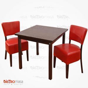 Kırmızı cafe masa sandalye takım