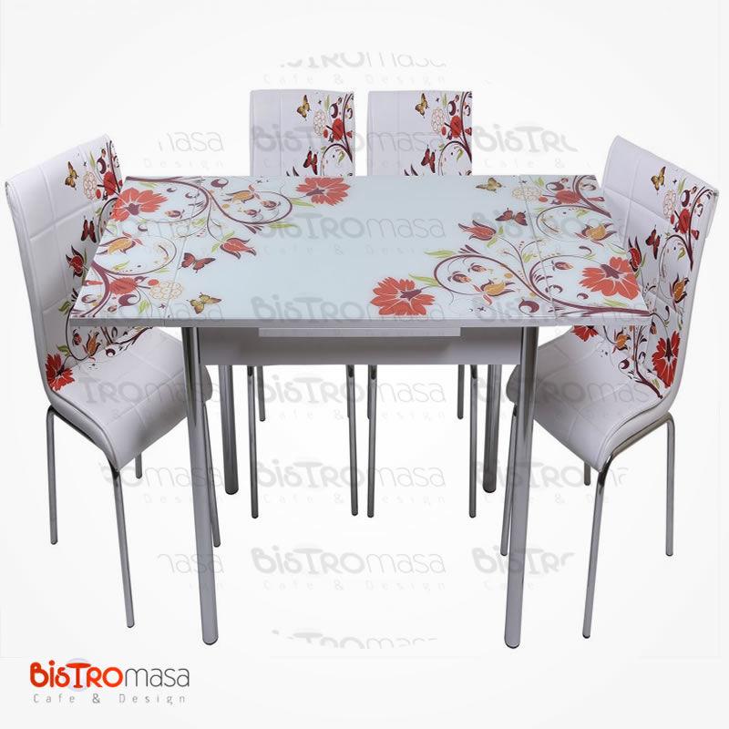 Kelebek desenli mutfak masası açık hali