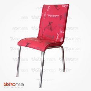 Kırmızı istanbul desenli petli sandalye