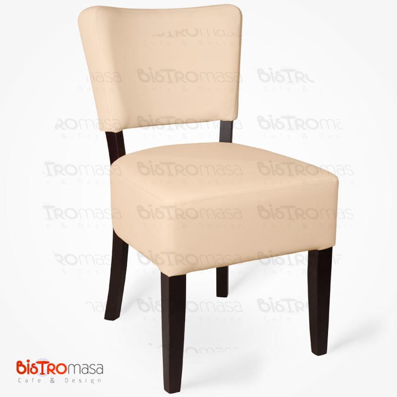 Krem ahşap sandalye