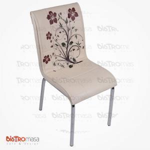 Krem kahverenk çiçekli petli sandalye