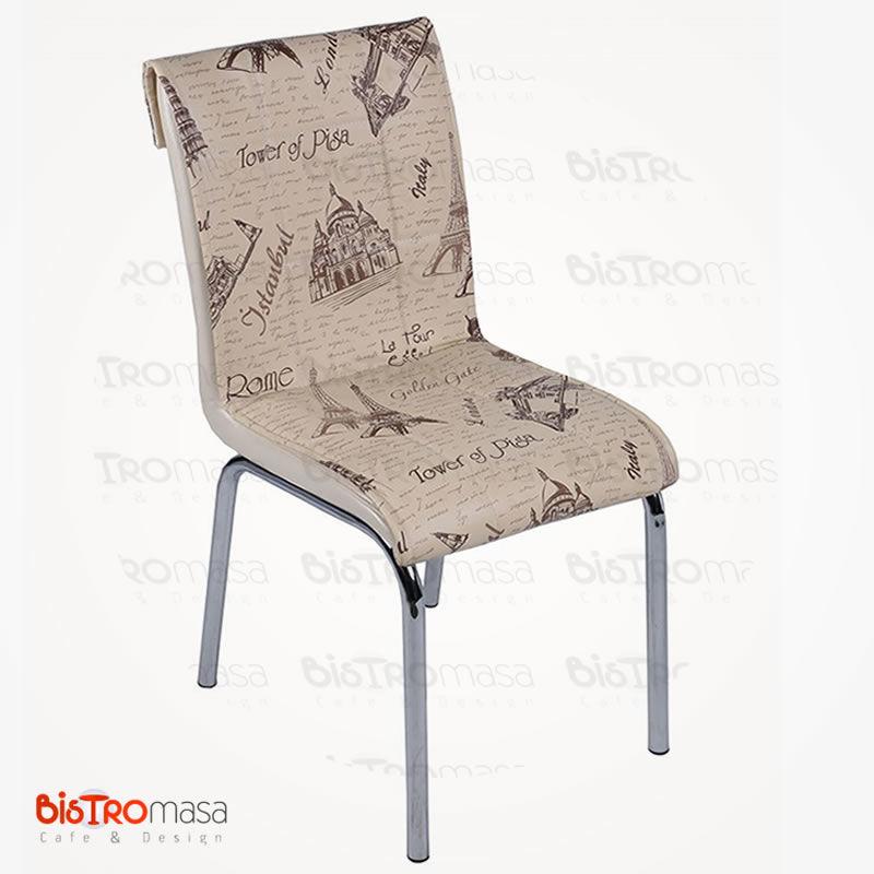 Krem london desenli petli sandalye
