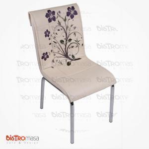 Krem lila çiçekli petli sandalye