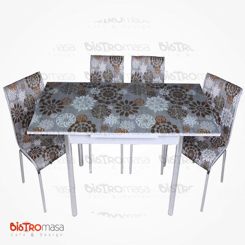 Simge desenli mutfak masası açık hali