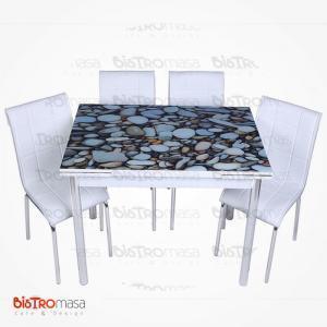 Çakıl taş desenli mutfak masası