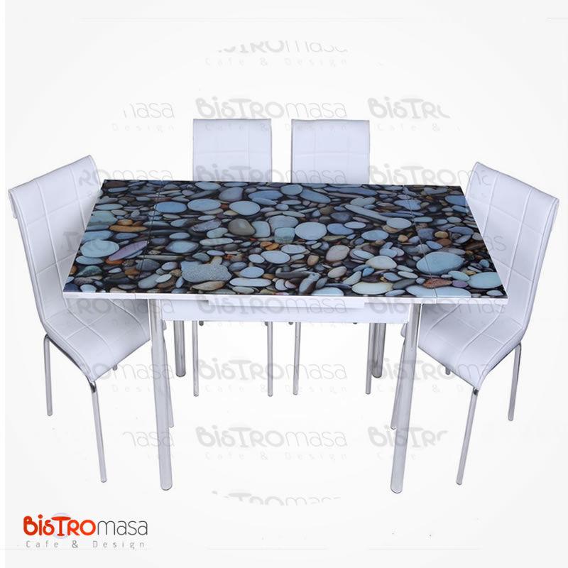 Çakıl taş desenli mutfak masası açık hali