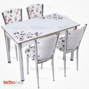 Kahverengi çiçekli açılır mutfak masası