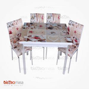 Deniz kabuğu desenli mutfak masası
