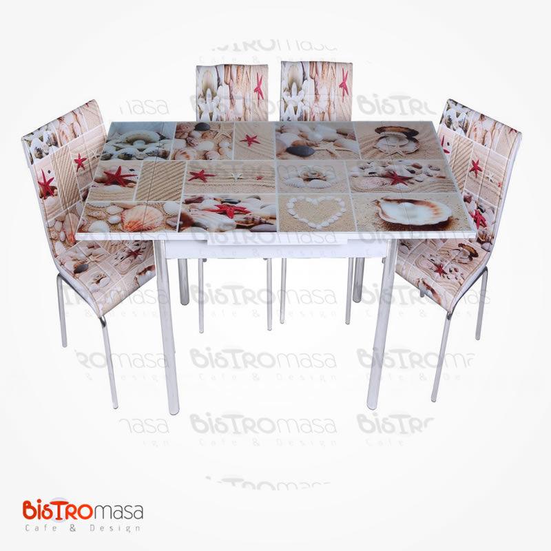 Deniz kabuğu desenli mutfak masası açık hali
