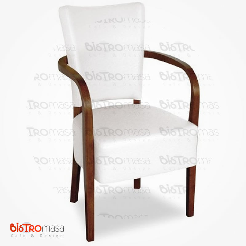 Beyaz kollu ahşap sandalye