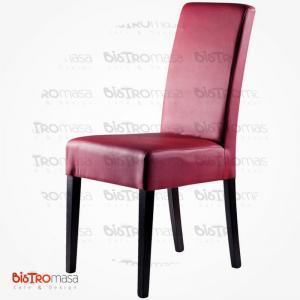 Bordo renk giydirme ahşap sandalye