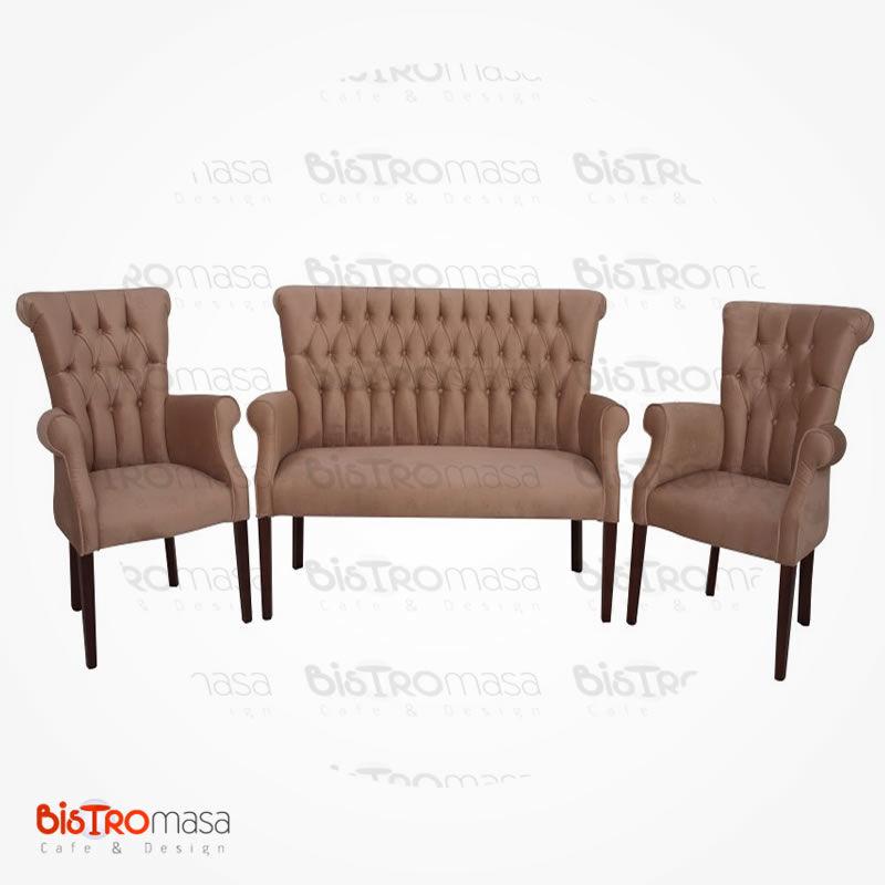 Kahverengi renk berjer koltuk takımı
