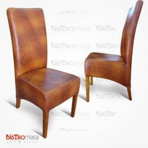 Deri ahşap paçalı sandalye