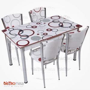 Desenli açılır mutfak masa sandalye