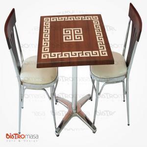 Desenli verzalit cafe masa sandalye