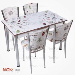 Fincan desenli açılır mutfak masası