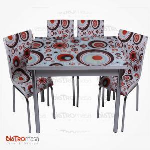 Geometri desenli açılır mutfak masası