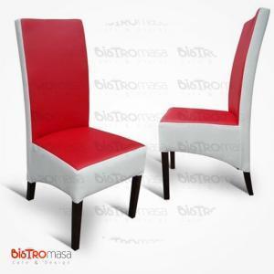 Kırmızı beyaz renkli paçalı sandalye