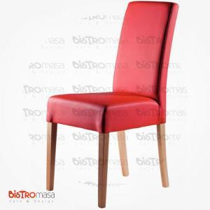 Kırmızı renk giydirme ahşap sandalye
