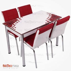 Kırmızı gül desenli açılır mutfak masası