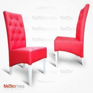Kırmızı kapitoneli paçalı sandalye