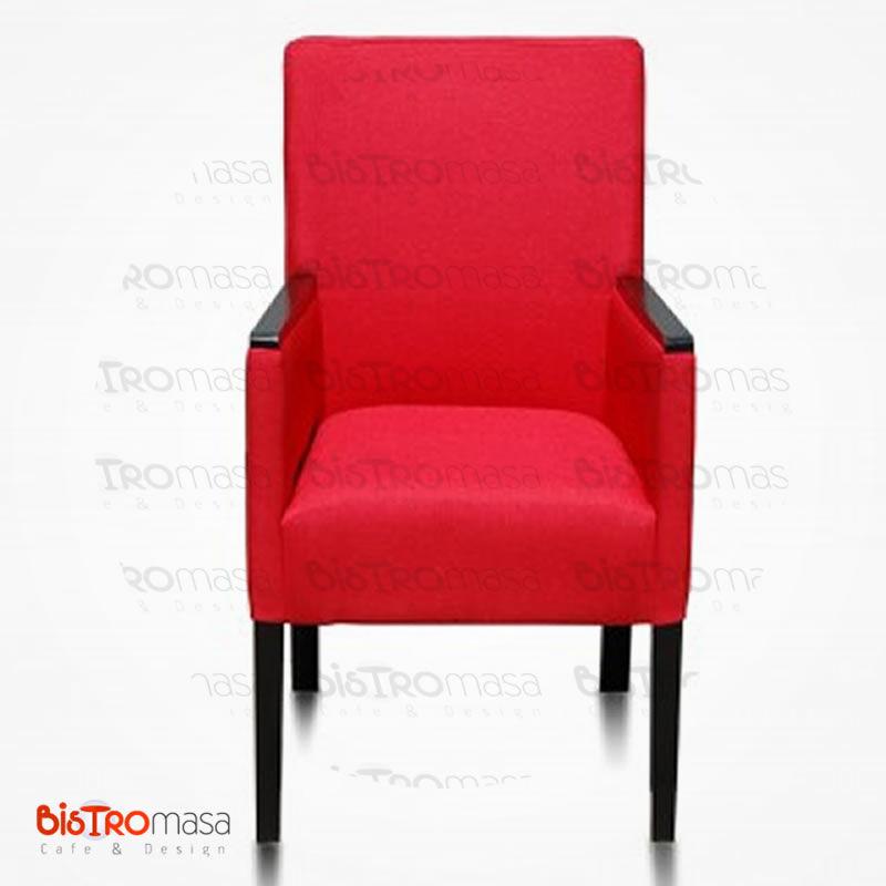Kırmızı renk kollu berjer koltuk
