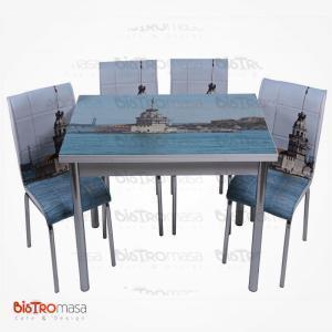 Kız kulesi desenli mutfak masası