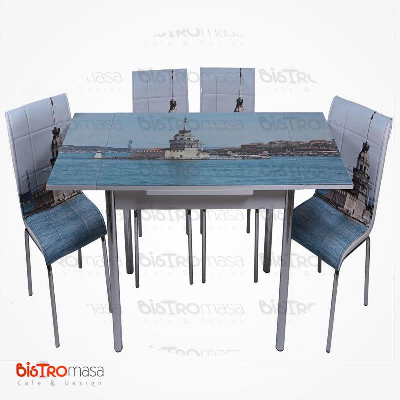 Kız kulesi desenli mutfak masası açık hali
