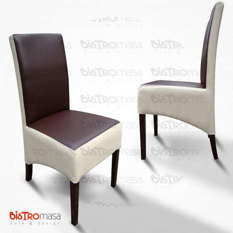 Kahverengi beyaz renkli paçalı sandalye