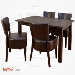 Kahverengi renk cafe masa sandalye takımı