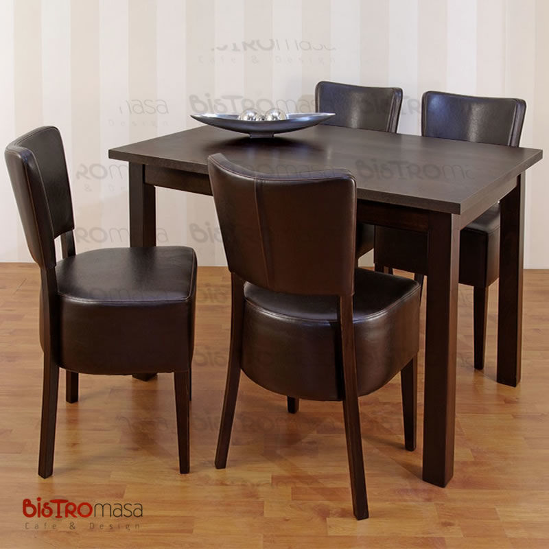Kahverengi renk cafe masa sandalye takımı mekan görünümü
