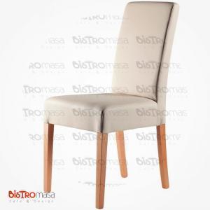 Krem renk giydirme ahşap sandalye