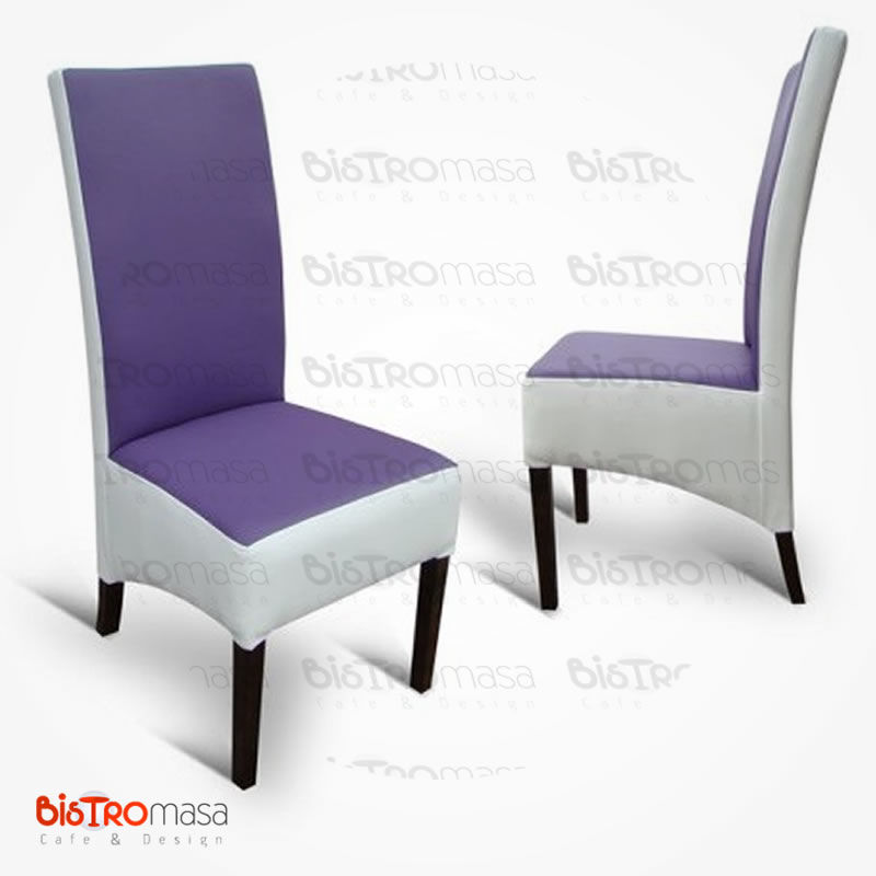 Mor beyaz renkli paçalı sandalye