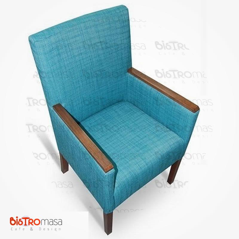 Mavi renk kollu berjer koltuk yan görünüm