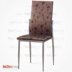 Kahverengi çiçekli metal sandalye