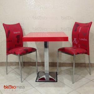 70x70 Kırmızı Cafe Masa Takımı