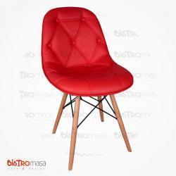 Kırmızı ahşap cafe sandalye