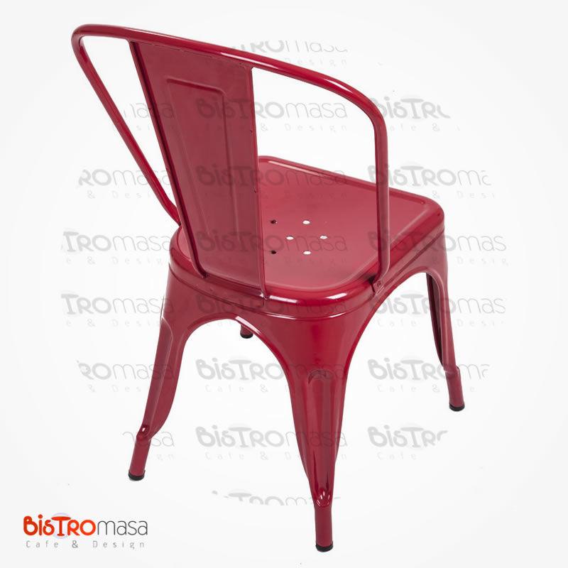 Metal kırmızı cafe sandalye sırt kısım