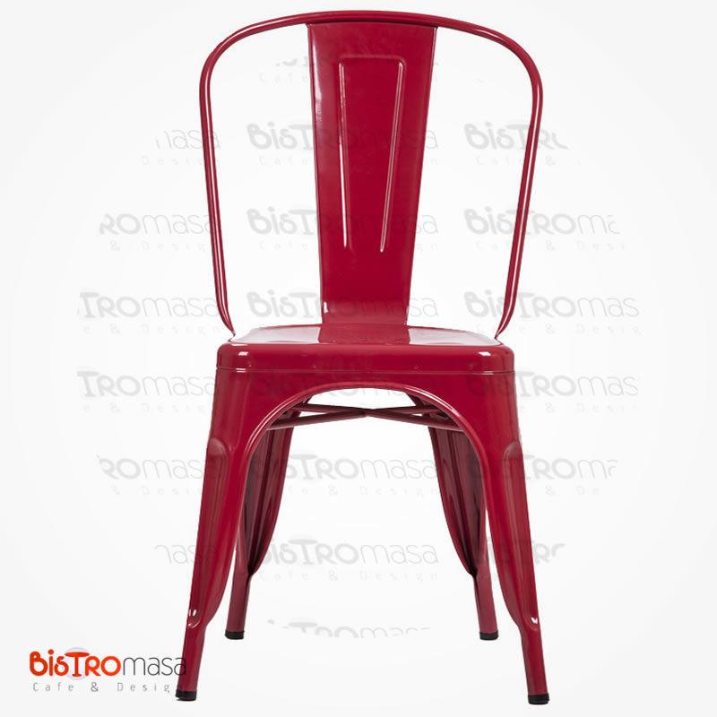 Metal kırmızı cafe sandalye ön kısmı