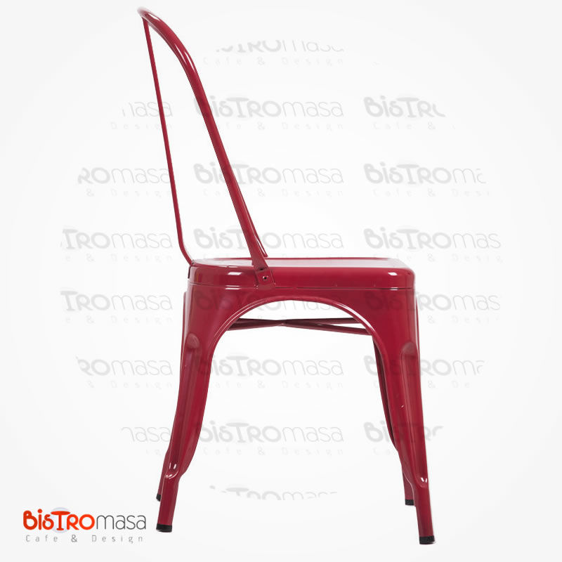 Metal kırmızı cafe sandalye yan görünüm