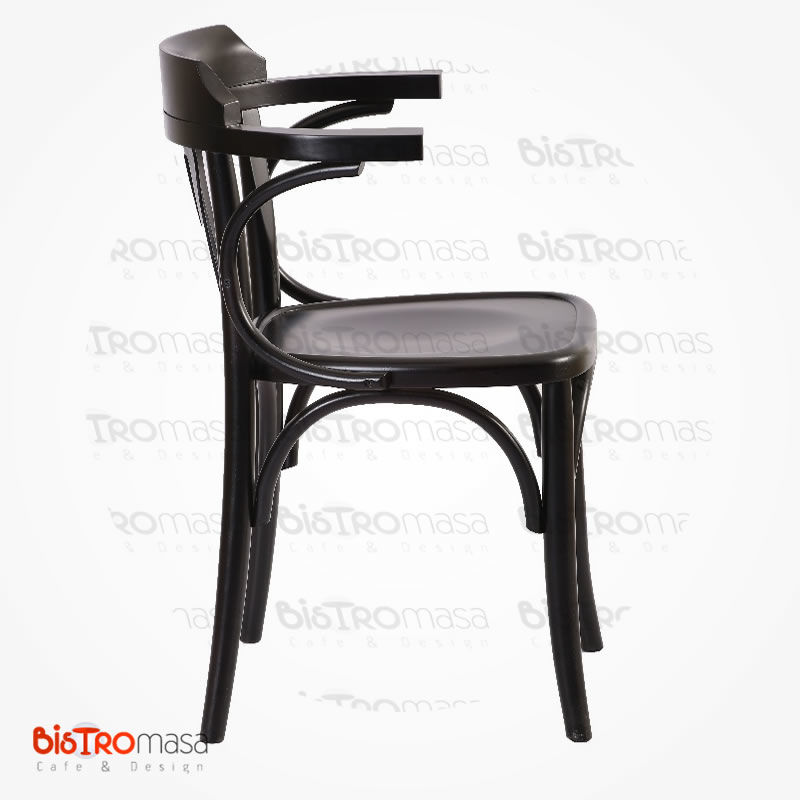 Siyah renk kollu thonet sandalye yan