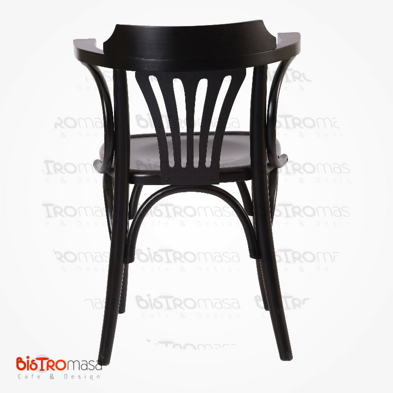 Siyah renk kollu thonet sandalye arka