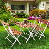 Katlanır cafe masa sandalye ceviz renk